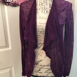 LOFT PURPLE BUTTON UP CARDIGAN SIZE M